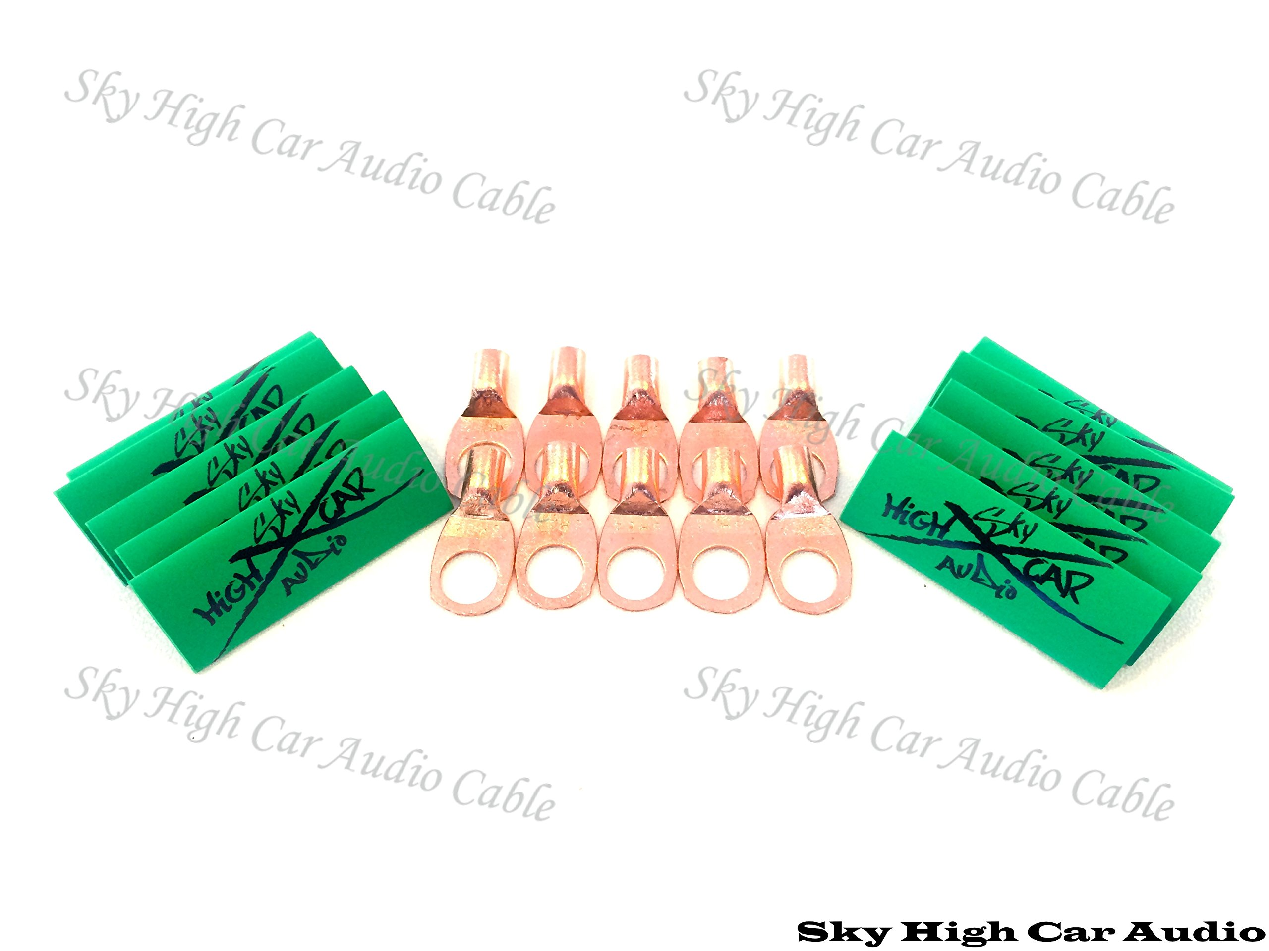 (10) 8 Gauge Copper Ring Terminals 3/8'' Green Heat Shrink Tubing Lugs