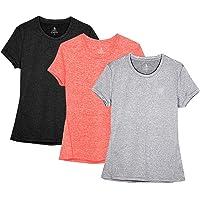 icyzone Camiseta de Fitness Deportiva de Manga Corta para Mujer, Pack de 3
