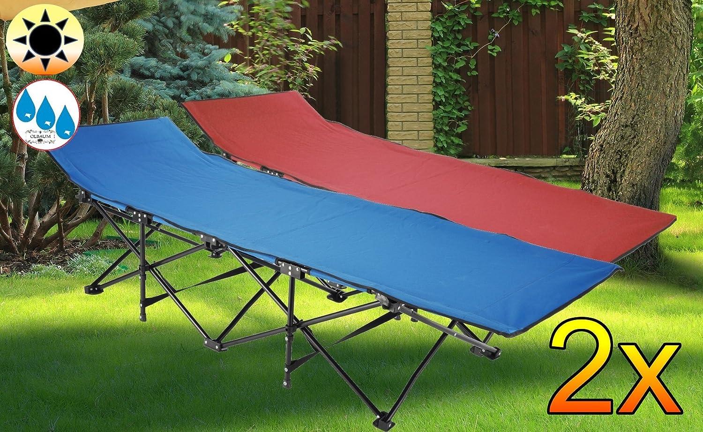 4 Stück U2013 Feldbett, US Style Rot Dunkelrot + Blau, Robuste Liege Für Garten  Und Strand, Picknick Und Lagerfeuer, Sonnenliege,PREMIUM Relaxliege,  Gartenliege ...