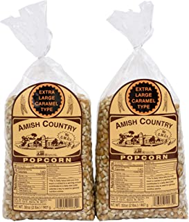 product image for Amish Country Popcorn | 2 - 2 lb Bags | Extra Large Caramel Type Popcorn Kernels | Old Fashioned with Recipe Guide