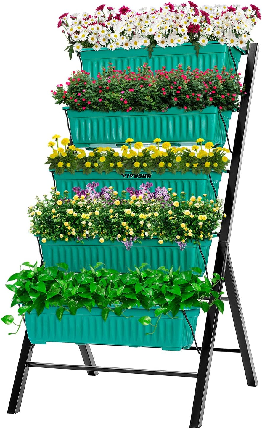 VIVOSUN 4FT Vertical Raised Garden Bed 5 Tier Planter Box Perfect to Grow Flower, Vegetables, Herbs, for Outdoor and Indoor Gardening