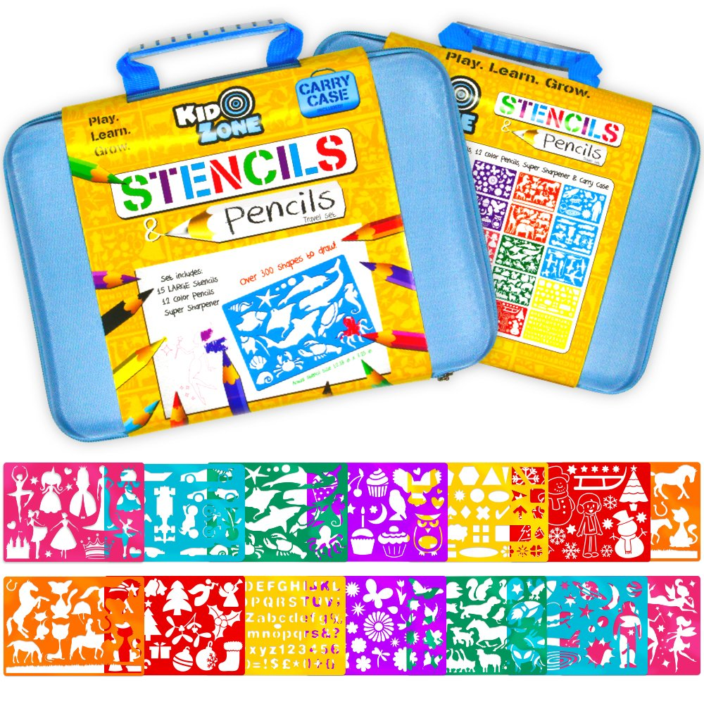 Stencil Drawing Kit w/ Carry Case - Over 300 Shapes - LARGE Drawing Stencils for Kids Art Include Plastic Alphabet Stencils, Geometric Shapes, Animals, and More! Kid Zone
