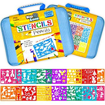 stencil drawing kit w carry case over 300 shapes large drawing stencils for - Kids Drawing Stencils