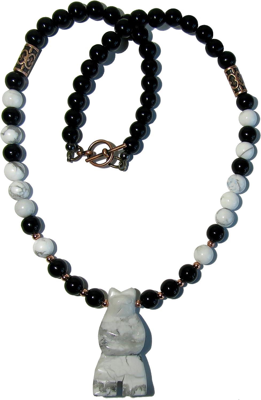 SatinCrystals Howlite Necklace Boutique Black Obsidian Handmade Genuine Gemstone White Bear B01