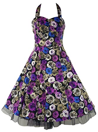 50s Vintage / Alternative Style Weeping Rose Full Circle Party Prom Dress ...