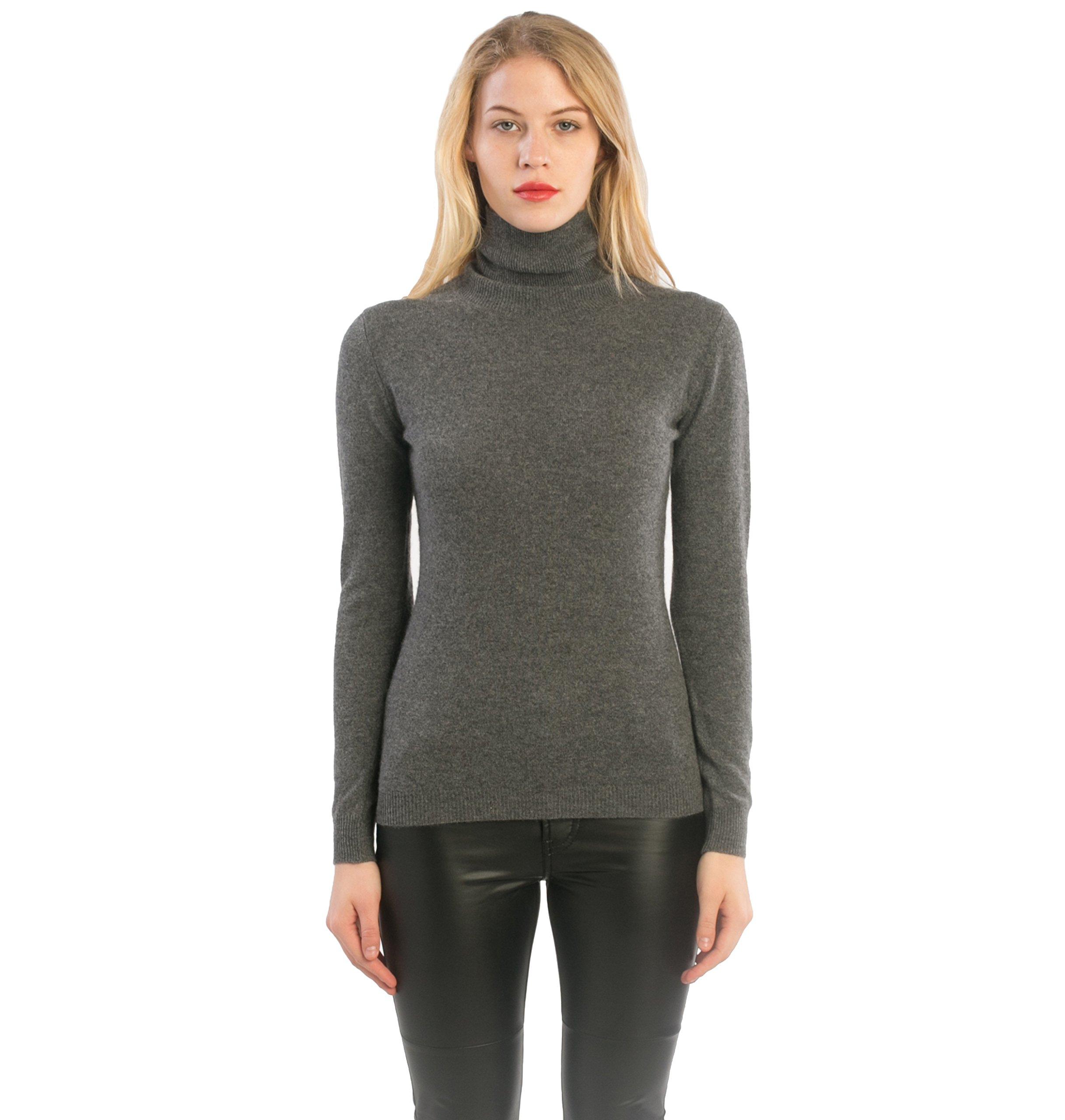 cashmere 4 U 100% Cashmere Turtleneck Sweater Pullover For Women