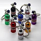 Luxus Schlüsselanhänger aus Metall - NOS Gasflasche black gold rot grün blau chrom - Metall Auto Boost Anhänger Schlüsselring Etui Schlüssel (blau)