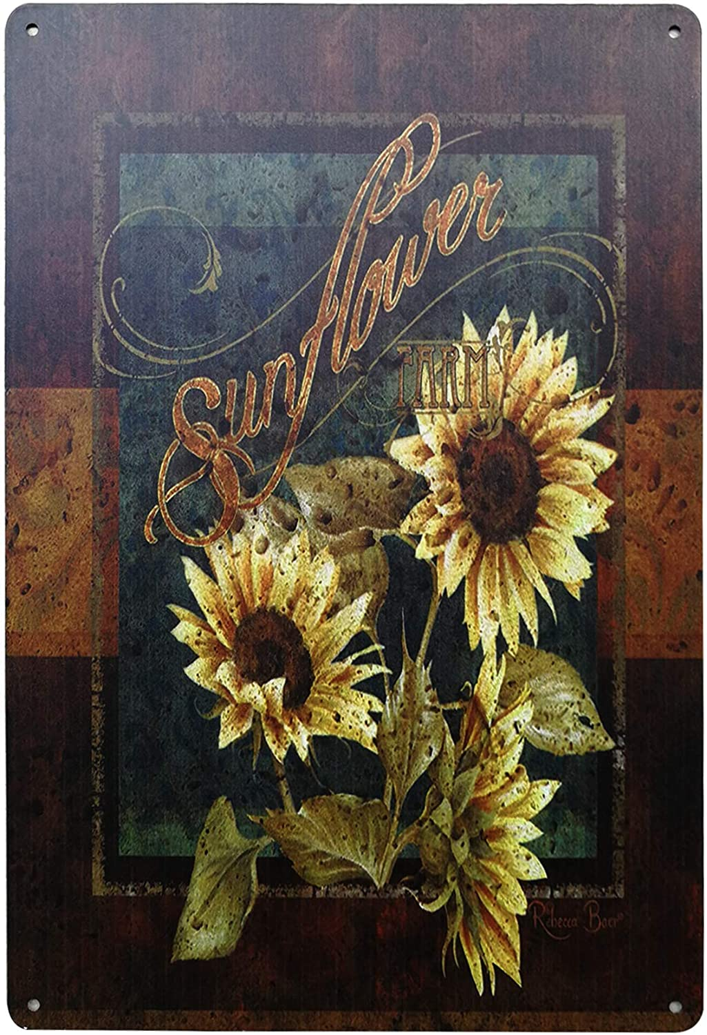 "TISOSO Rustic Sunflower Retro Vintage Farm Country Bar Metal Tin Sign Poster Style Wall Art Pub Bar Decor 8""X 12"" Inches"