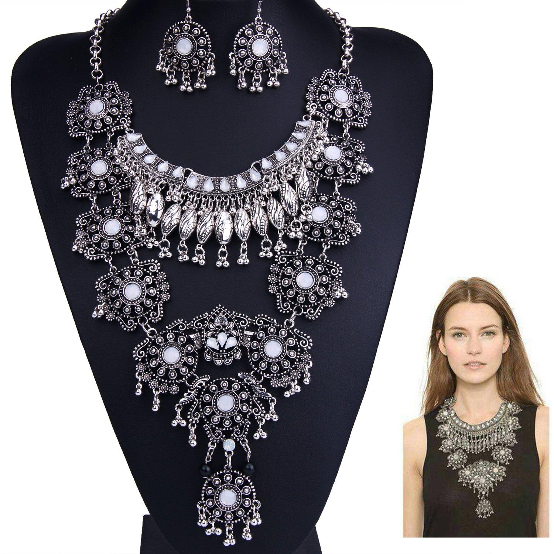 Zhenhui Silver Boho Necklace Earring Set Long Bohemia Statement Tribal Turkish Women Jewelry Set