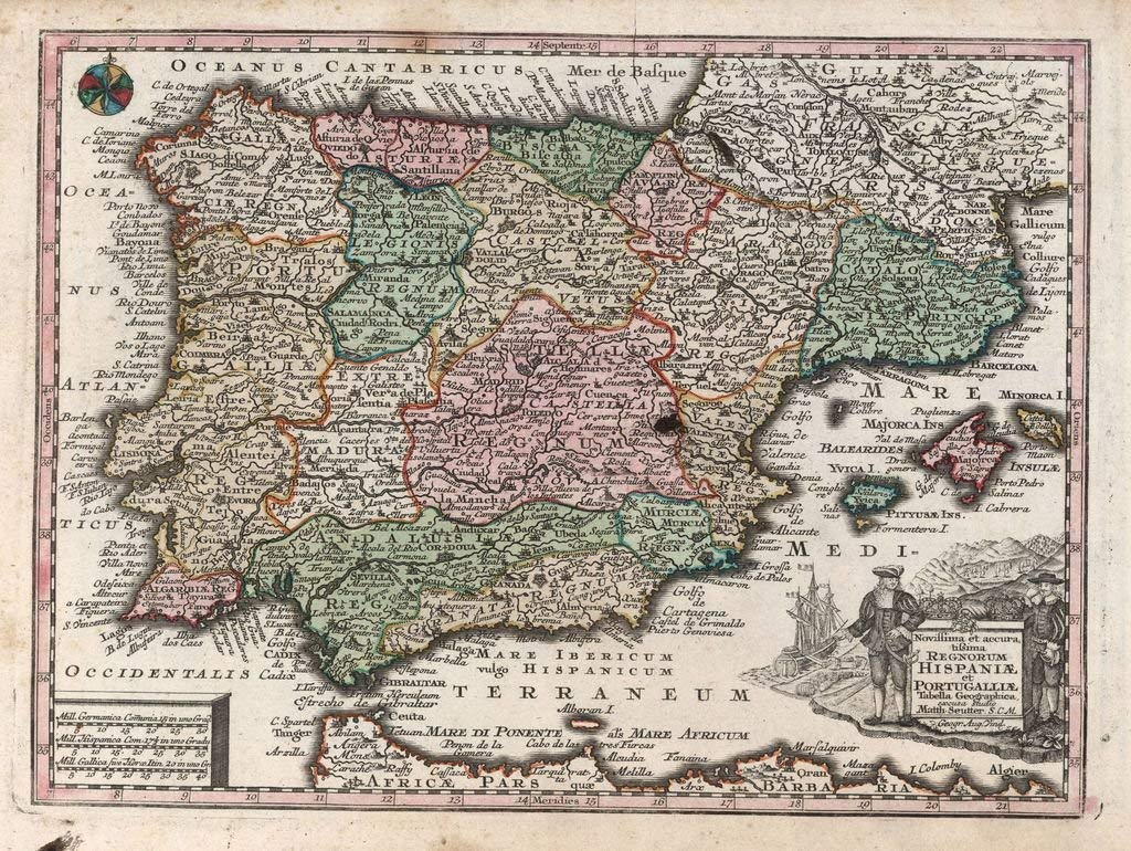 Lais Puzzle Matthäus Seutter Landkarte - Atlas Novas Indicibus Instructus (1744) - Hispaniae et Portugalliae (Spanien und Portugal) - Motivserie 2000 Teile