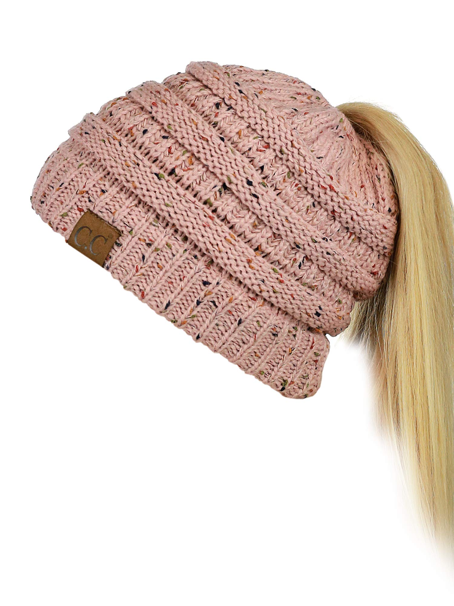 f292f9841f5585 Galleon - C.C BeanieTail Soft Stretch Cable Knit Messy High Bun Ponytail  Beanie Hat, Confetti Indi Pink