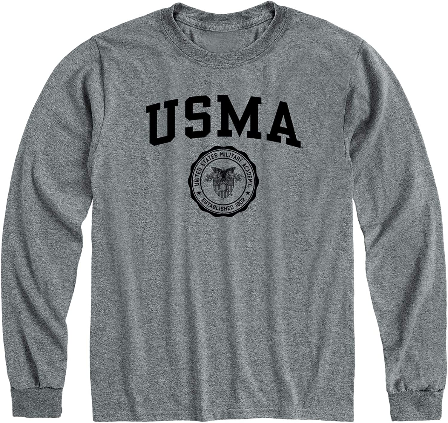 Ivysport Long Sleeve Cotton Adult T-Shirt, Heritage Logo, Grey, NCAA Colleges and Universities