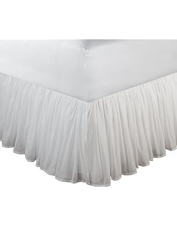 Greenland Home - Bonito faldón de Gasa de algodón para Cama, Color Blanco, 45