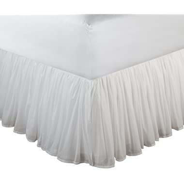 Greenland Home Fashions Cotton Voile 18-Inch White Bed Skirt, Queen