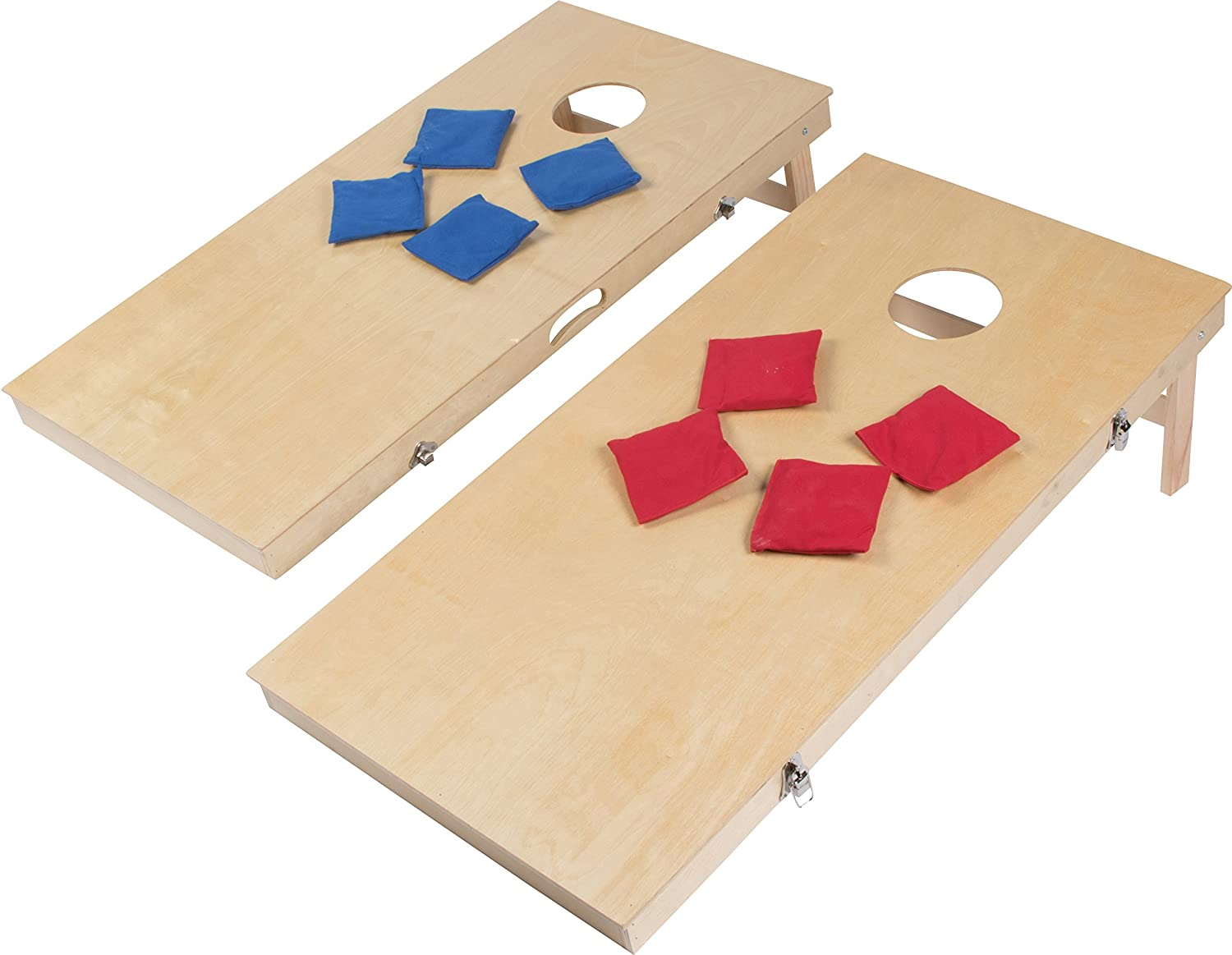 Miraculous Simply Sports 4 Corn Hole Bean Bag Toss Set With Solid Pine Wood Frame And Built In Carry Handle Evergreenethics Interior Chair Design Evergreenethicsorg