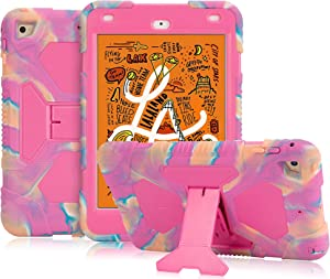 ACEGUARDER New iPad Mini 5 Case 2019, iPad Mini 4 Kids Case Soft Silicone Shockproof Durable with Adjustable Kickstand Protection Cover (Dream Powder)