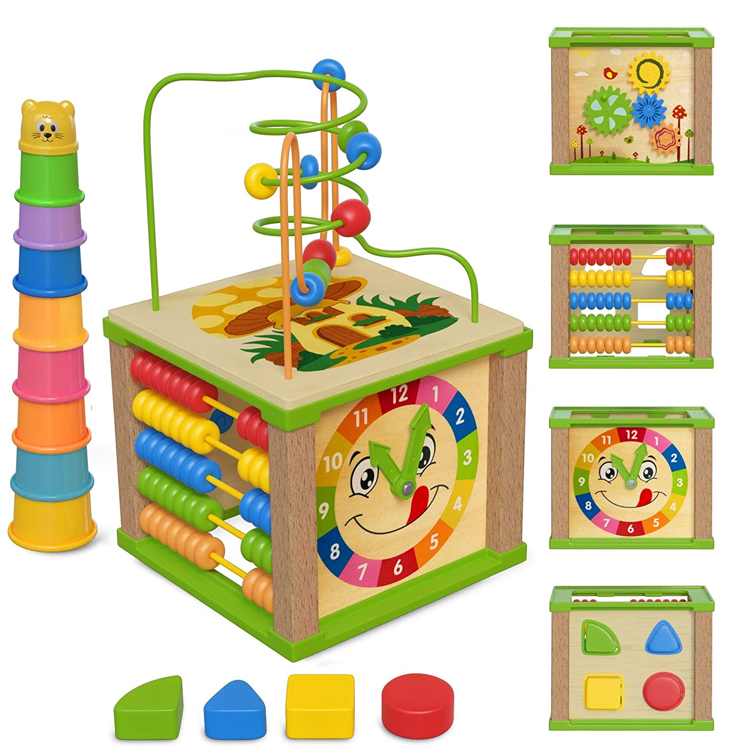 Spunky Kinder Wooden Kids Baby Activity Cube - Boys Gift Set   One 1, 2 Year Old Boy Gifts Toys   Developmental Toddler Educational Wooden Baby Learning Boy Toys 12-18 Months   Bead Maze (Blue Box)