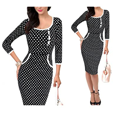 ZackZK Fashion Womens Vintage Rockabilly Polka Dot Button Tunic Pencil Sheath Dress 2205 Black White Dot