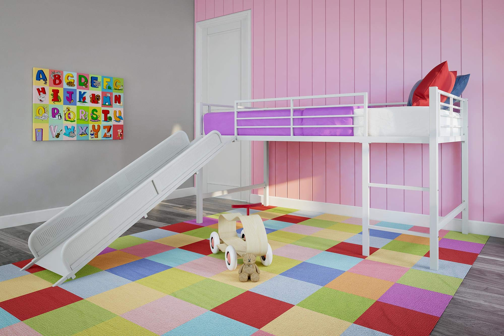 DHP Junior Twin Metal Loft Bed with Slide, Multifunctional Design, White with White Slide by DHP