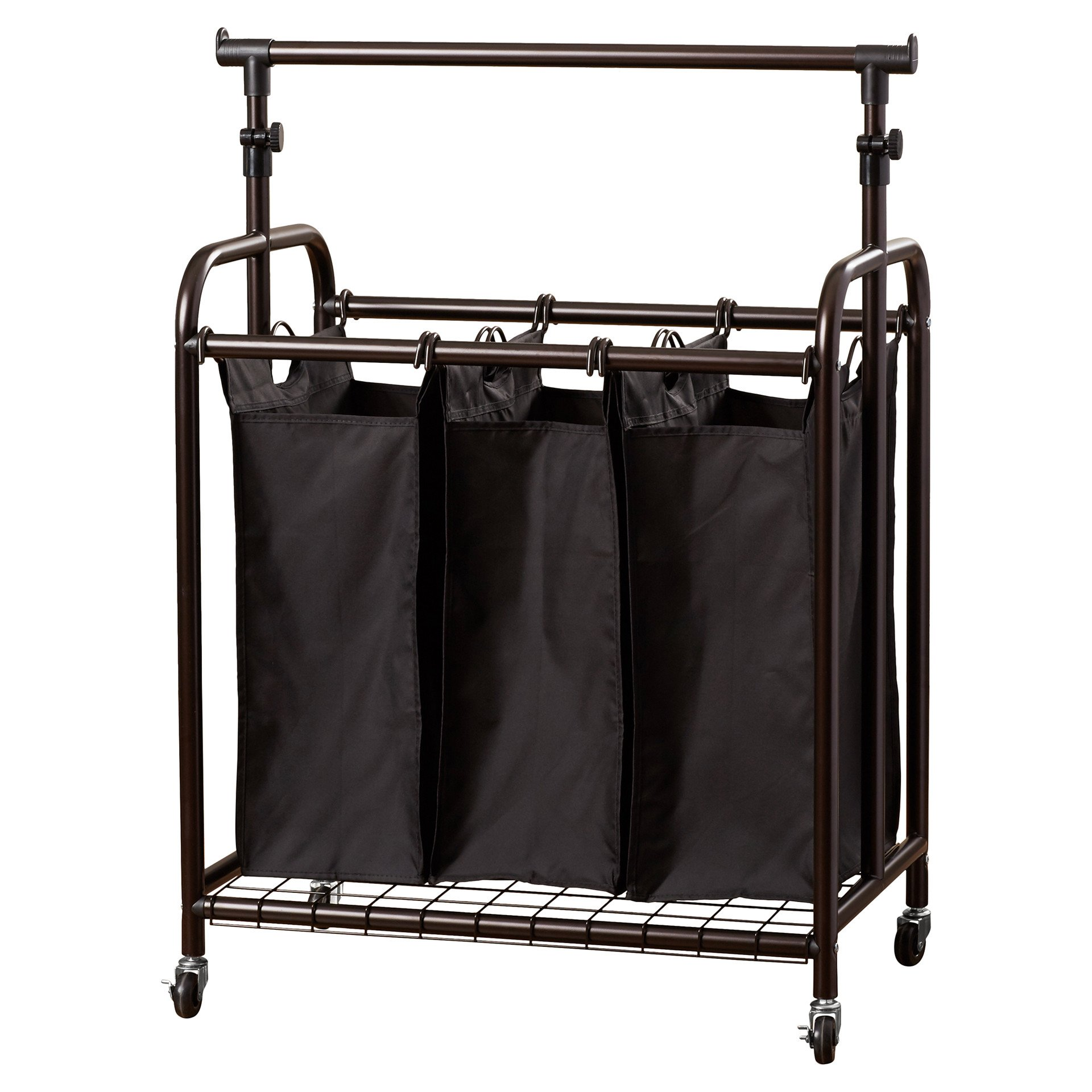 Perfect For Big Families 3 Bag Rolling Contemporary Laundry Sorter with Adjustable Hanging Bar