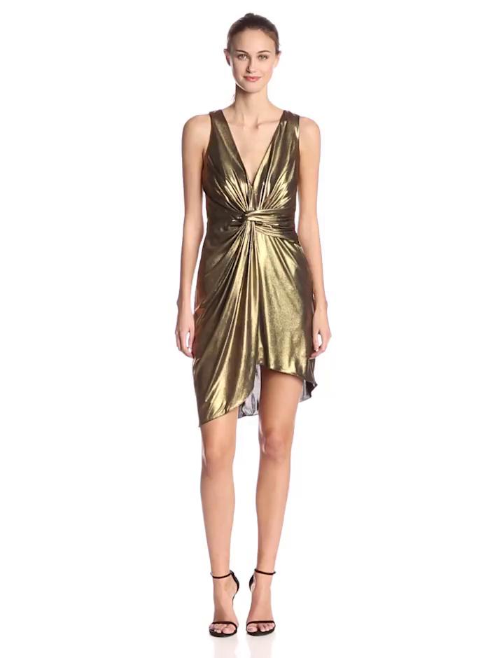 HALSTON HERITAGE Women's Foiled Jersey V-Neck Twist Front Cocktail Dress, Antique/Gold, 0
