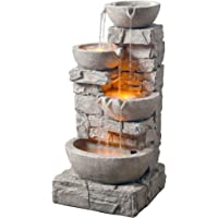 Peaktop 201601PT Floor Stacked Stone 4 Tiered Bowls Waterfall Water Fountain for Outdoor Patio Garden Backyard Decking with Led Lights and Pump, 33″ Height, Gray