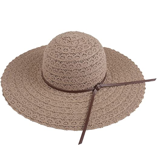 95b0bd4e5d6 Image Unavailable. Image not available for. Color  CHIC DIARY Women Lace  Large Brim Bucket Hat Summer Beach Sun Cap with PU Bowknot (