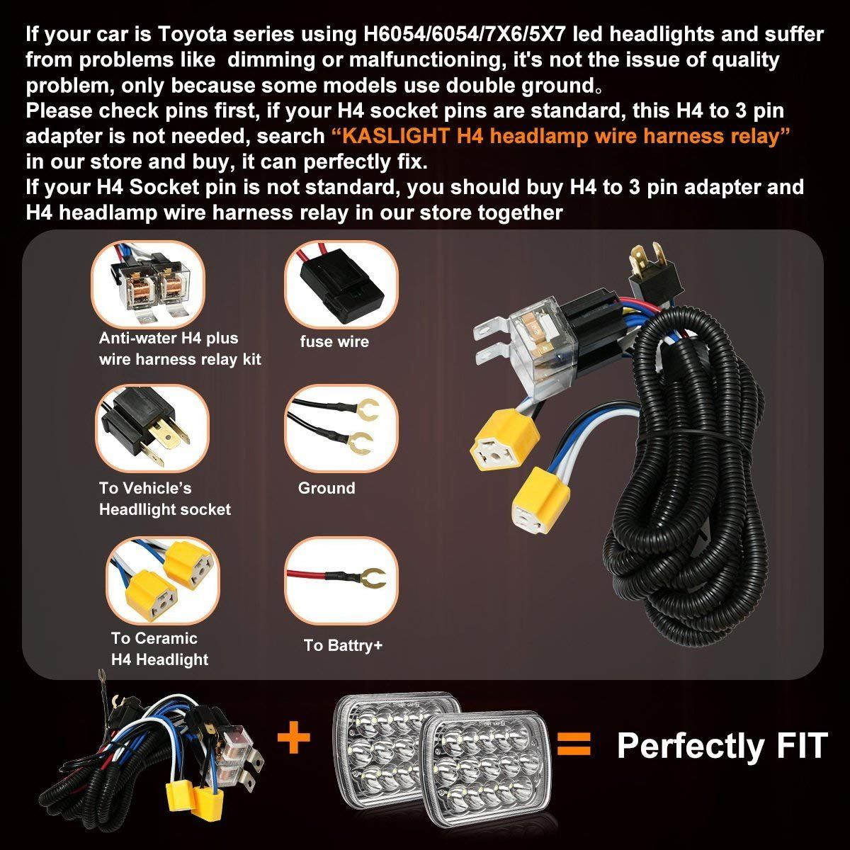 1set 2 Headlight Harness H4 Relay H6054 Wiring Kit Toyota Pickup Headlights
