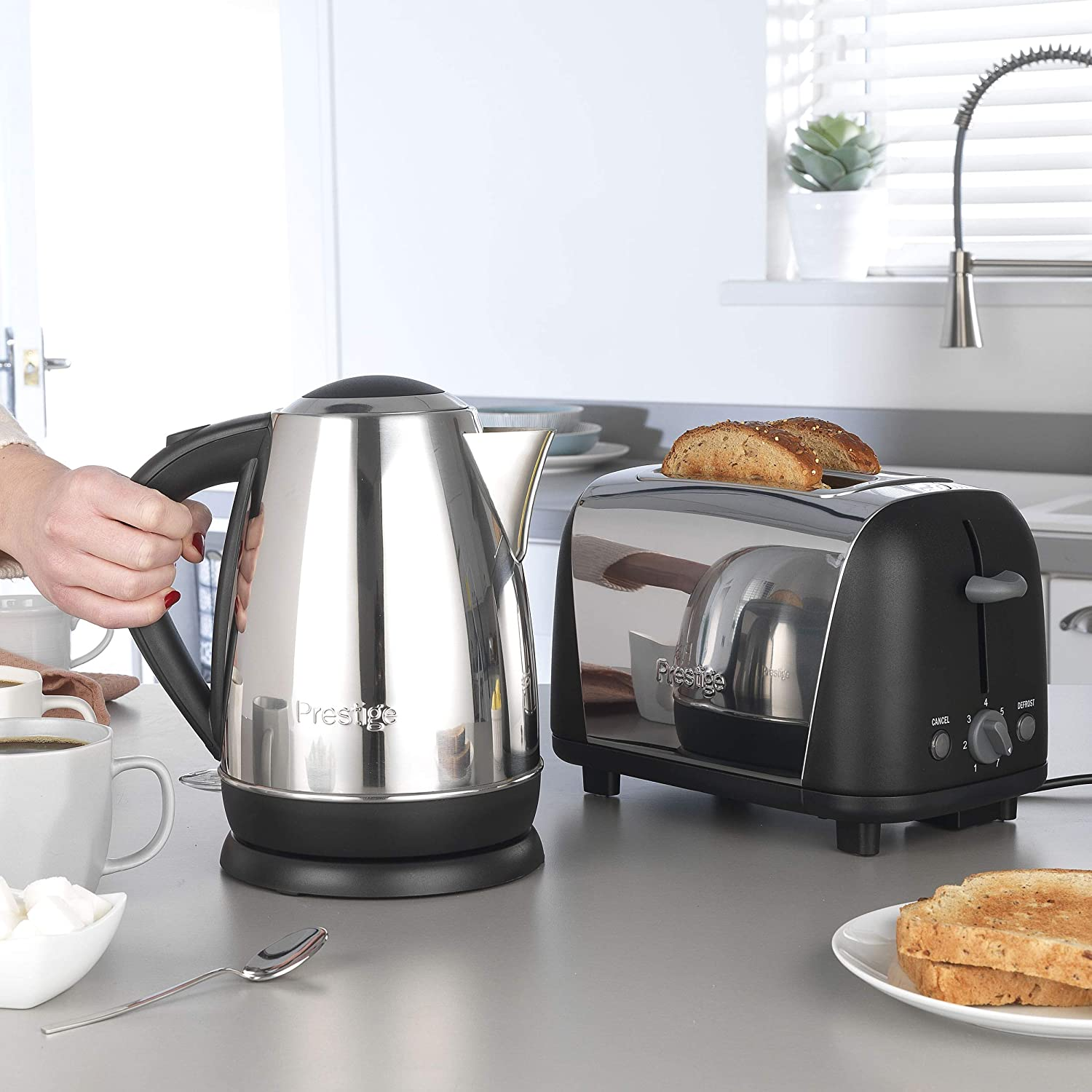 Prestige 53233 Cordless 1.7L Kettle and 2-Slice Toaster, Stainless Steel and Almond Black