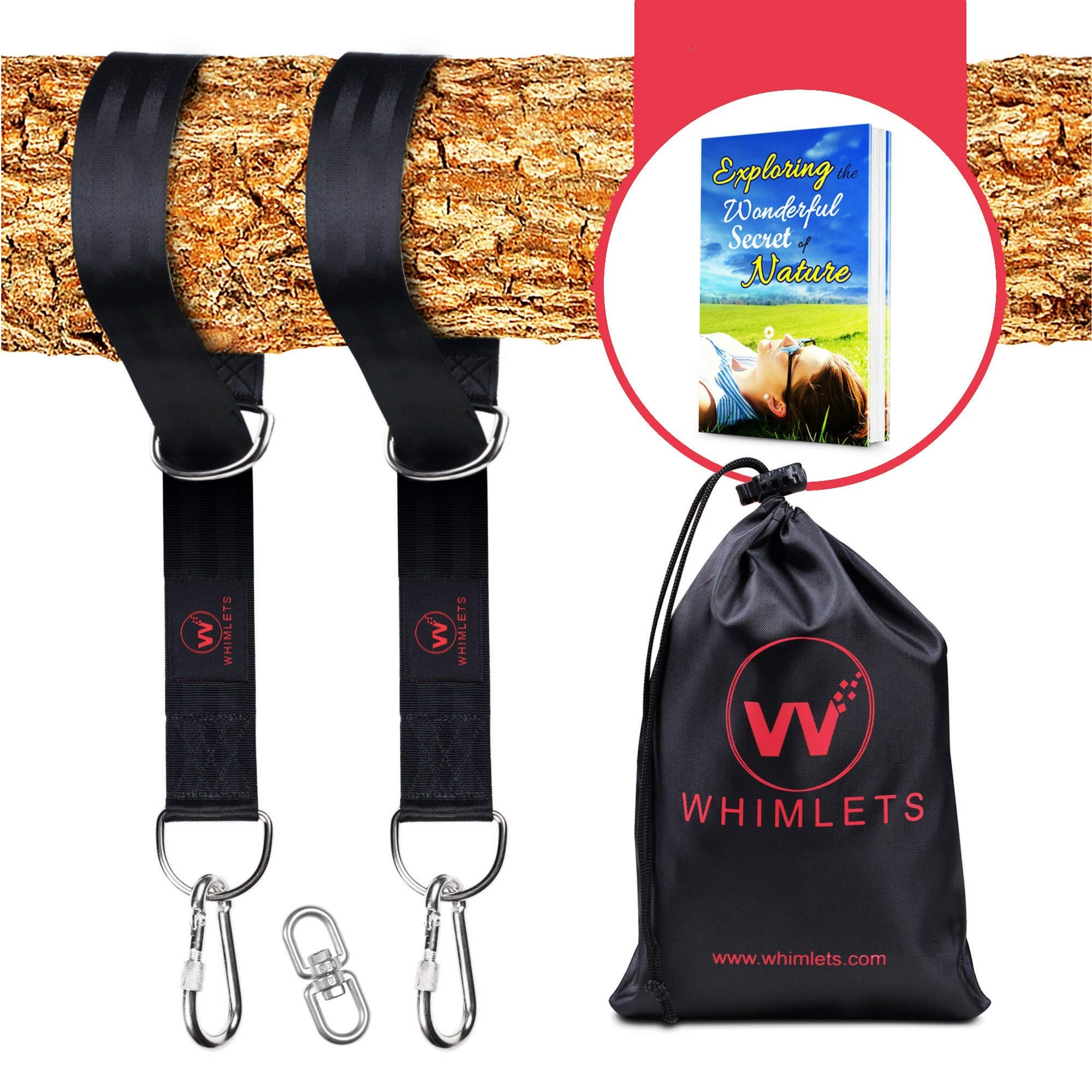 Whimlets Tree Swing Straps Hanging Kit 10ft - Two 5ft Straps Hold 2000lbs - Perfect for Swings and Hammocks – Easy and Fast Installation - with Bonus Carabiners, Stainless Steel Swivel and Free eBook