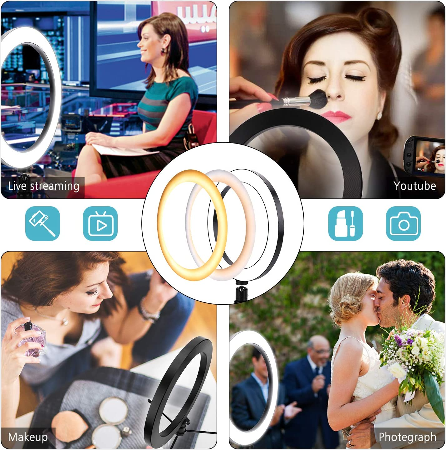 Photography with 3 Light Modes /& 10 Brightness Level Ring Light 10 for YouTube Video and Makeup,Bright Selfie Ring Light Dimmable Desktop LED Camera Light Ring for Studio