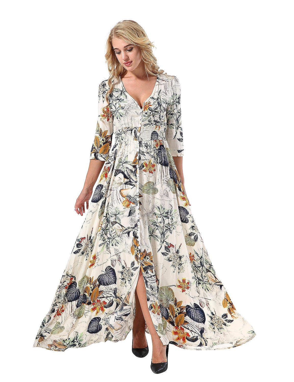 504a6429f2 Aitos Women s V-neck Short Sleeve Floral Print Maxi Boho Dress Summer Beach  Dress (Apricot