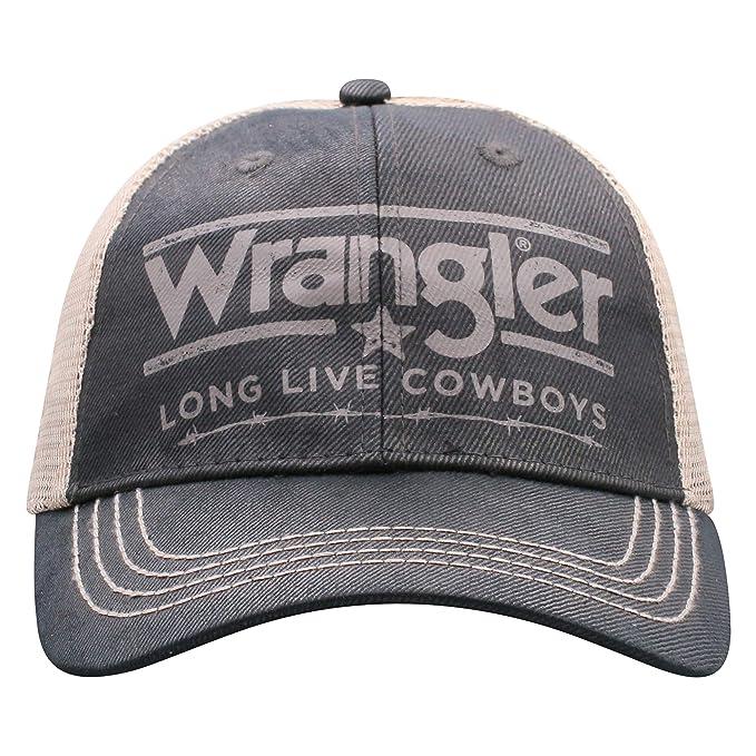 ee1b4622d Wrangler Mens Black/White Long Live Cowboys Adjustable Snapback Hat
