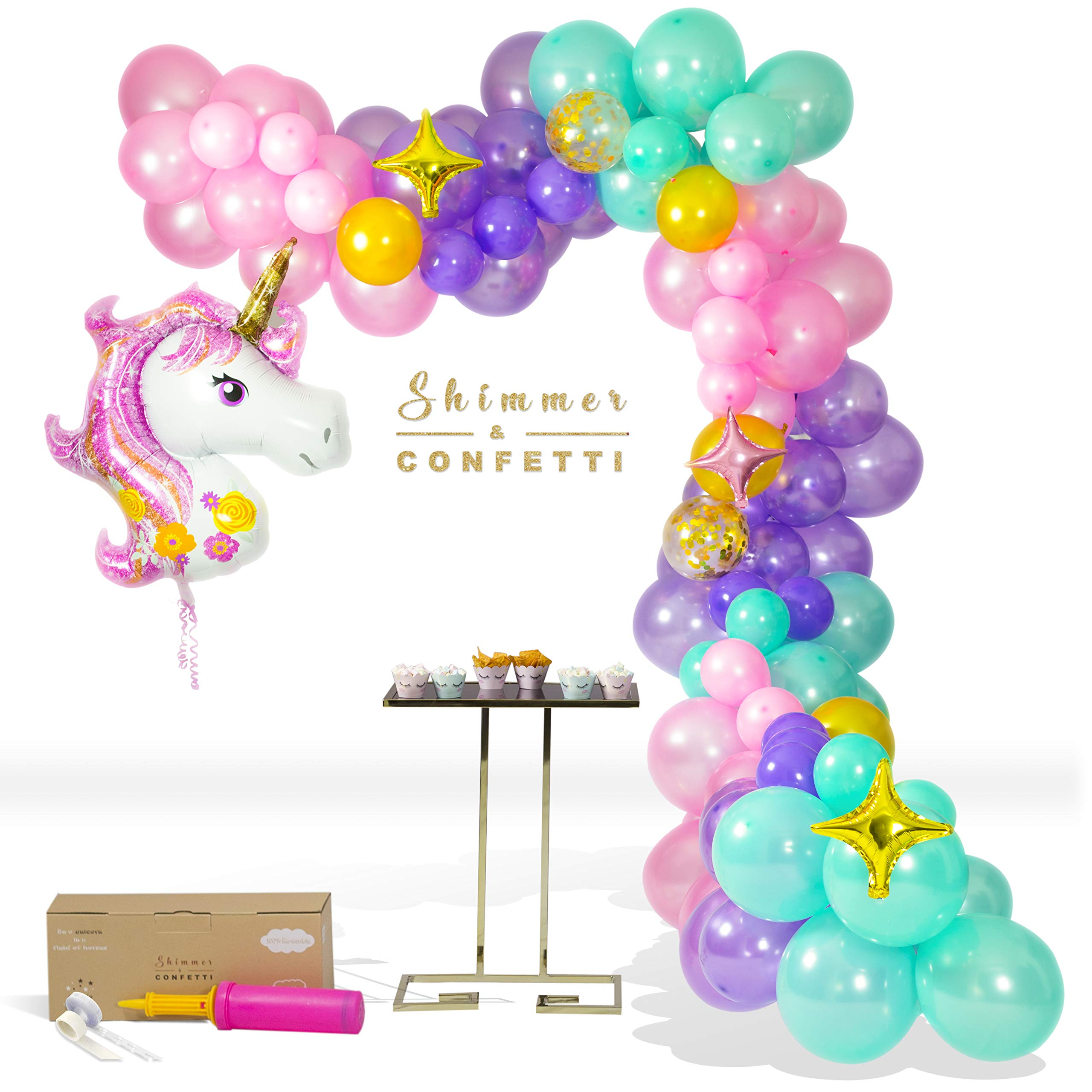 SHIMMER & CONFETTI | Premium 16ft Unicorn Balloon Arch & Garland Kit | Giant Unicorn Balloon, 145 Pink, Purple and Aqua Balloons, 5 Gold Confetti Balloons, 16' Decorating Strip & Pump | Star Balloons