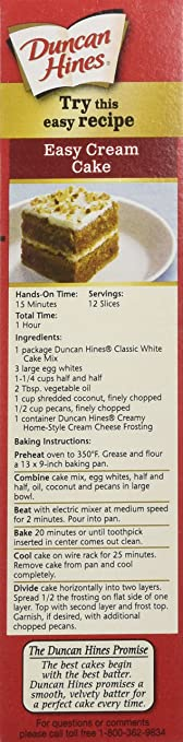 Amazon Com Duncan Hines Cake Mix Classic White 16 5 Ounce Pack Of 6 Grocery Gourmet Food