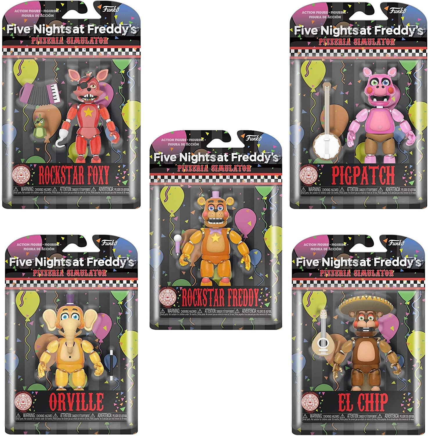 Amazon Com Fnaf Toys Five Nights At Freddy S Toys Action Figures Glow In The Dark Pizzaria Simulator Set Of 5 Toys Games