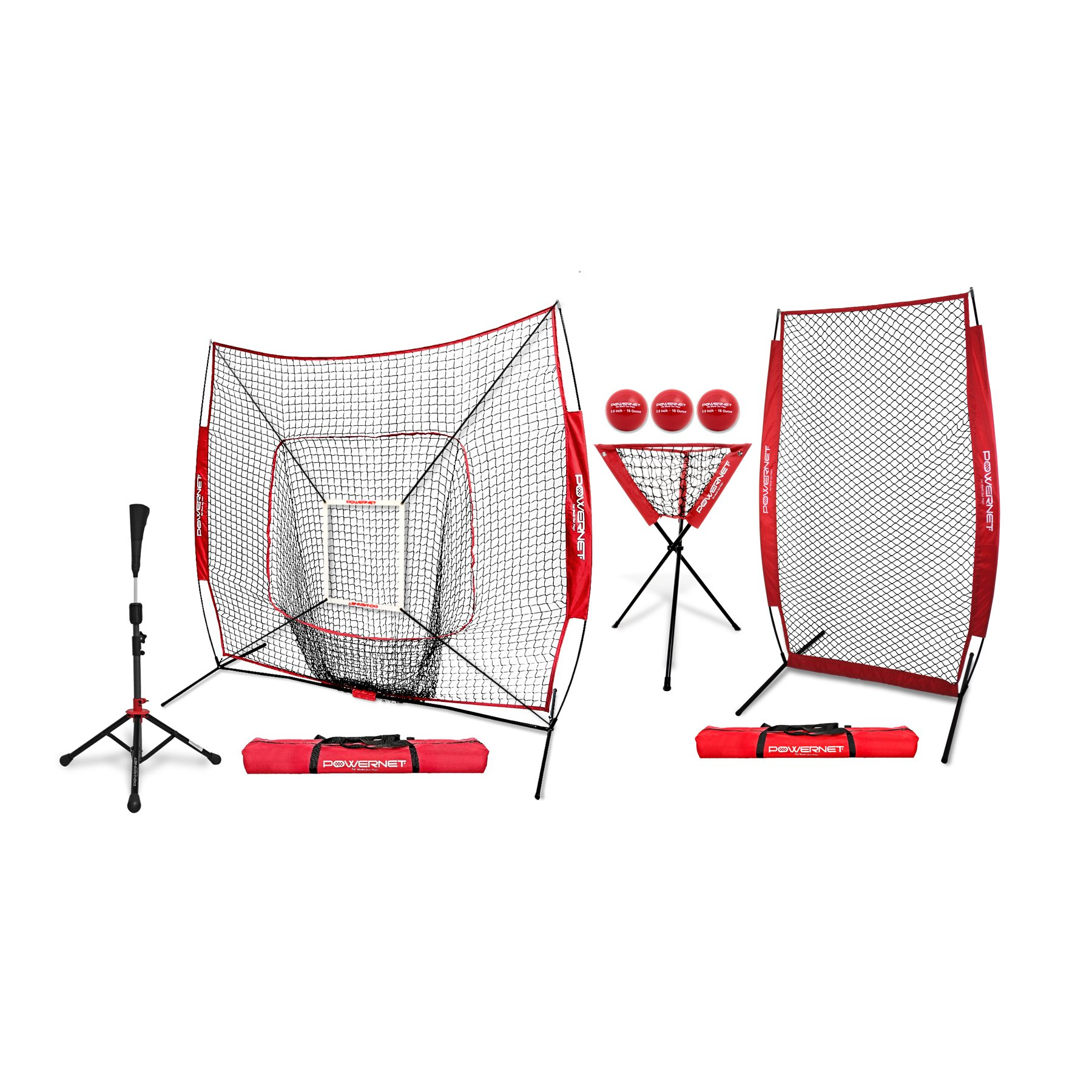 PowerNet [All in ONE Coach Bundle (Red) 7x7 DLX Practice Net + I-Screen + Deluxe Tee + Ball Caddy + 3 Pack Weighted Training Ball + Strike Zone Bundle   Baseball Softball Pitching Batting by PowerNet