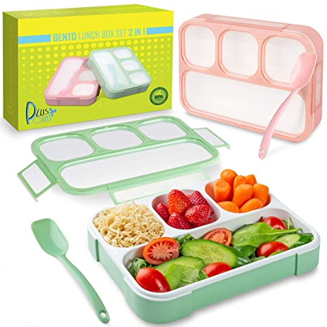 f600eb79daf2 Bento Lunch Box Container For Kids and adults, 2 Leakproof Food & Meal Prep  storage With 4 Compartments + Cutlery Perfect For Healthy Food & Snacks ...