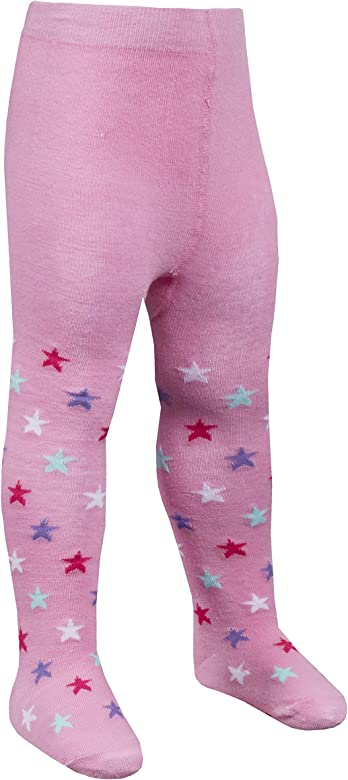 Metzuyan 2 4 Pack Babies Girls Tights Cotton Rich Anti Slip Grips Unicorn Owl Ladybird Patch Panel 0-24M
