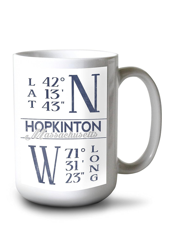 ホプキントン、マサチューセッツ州 – 緯度と経度(ブルー) 15oz Mug LANT-3P-15OZ-WHT-80253 B077RQKPBW  15oz Mug