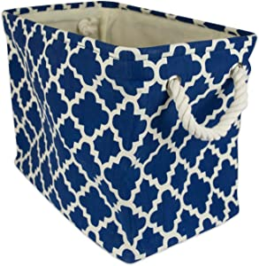 "DII Collapsible Polyester Storage Basket or Bin with Durable Cotton Handles, Home Organizer Solution for Office, Bedroom, Closet, Toys, & Laundry (Large – 17.75x12x15""), Navy Lattice"