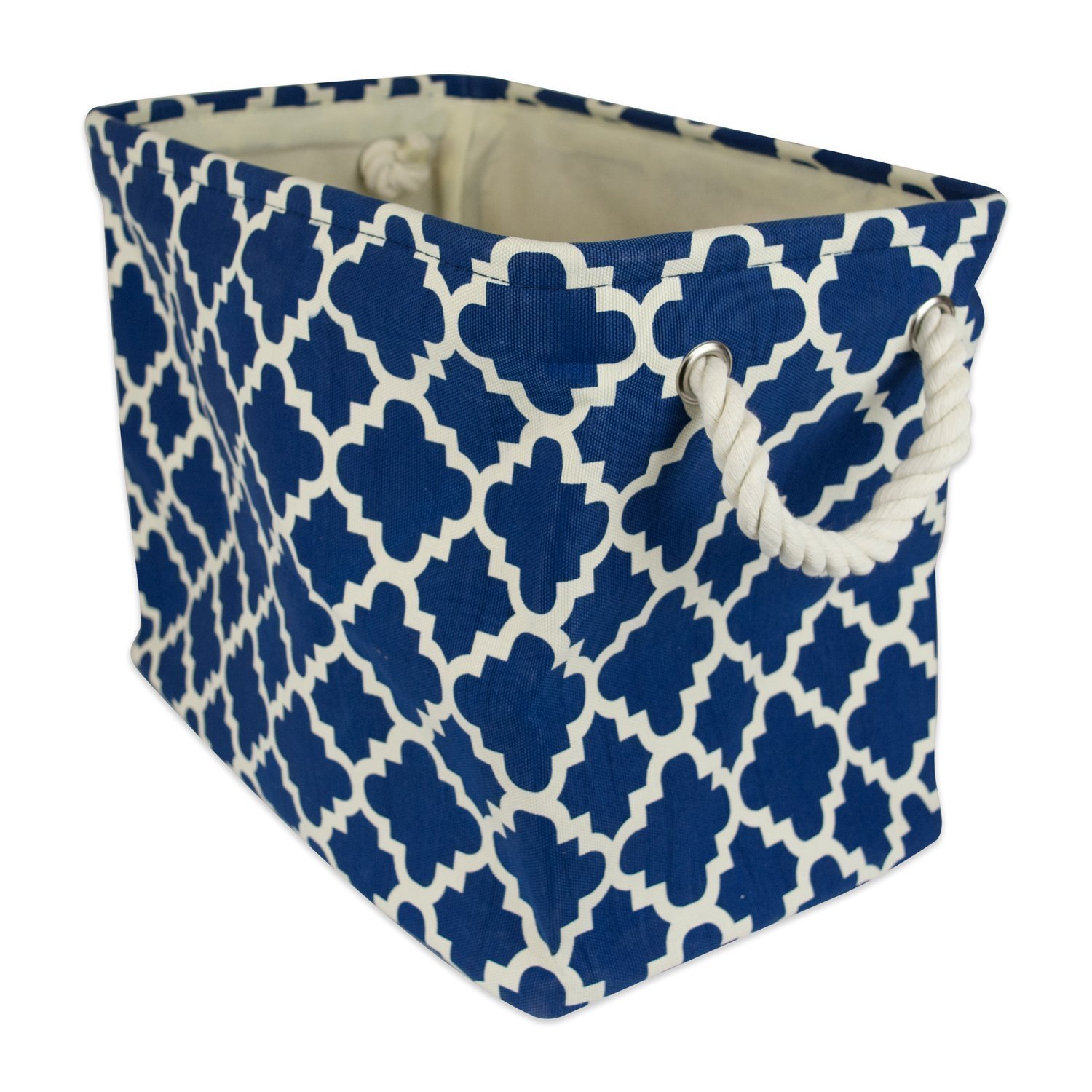 """DII Collapsible Polyester Storage Basket or Bin with Durable Cotton Handles, Home Organizer Solution for Office, Bedroom, Closet, Toys, Laundry (Small – 14x8x9""""), Navy Lattice"""