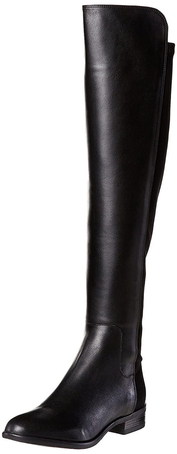 96852dc6c0af Clarks Women s Stacked Heel Over the Knee Boots Caddy Belle Black Leather   Amazon.co.uk  Shoes   Bags