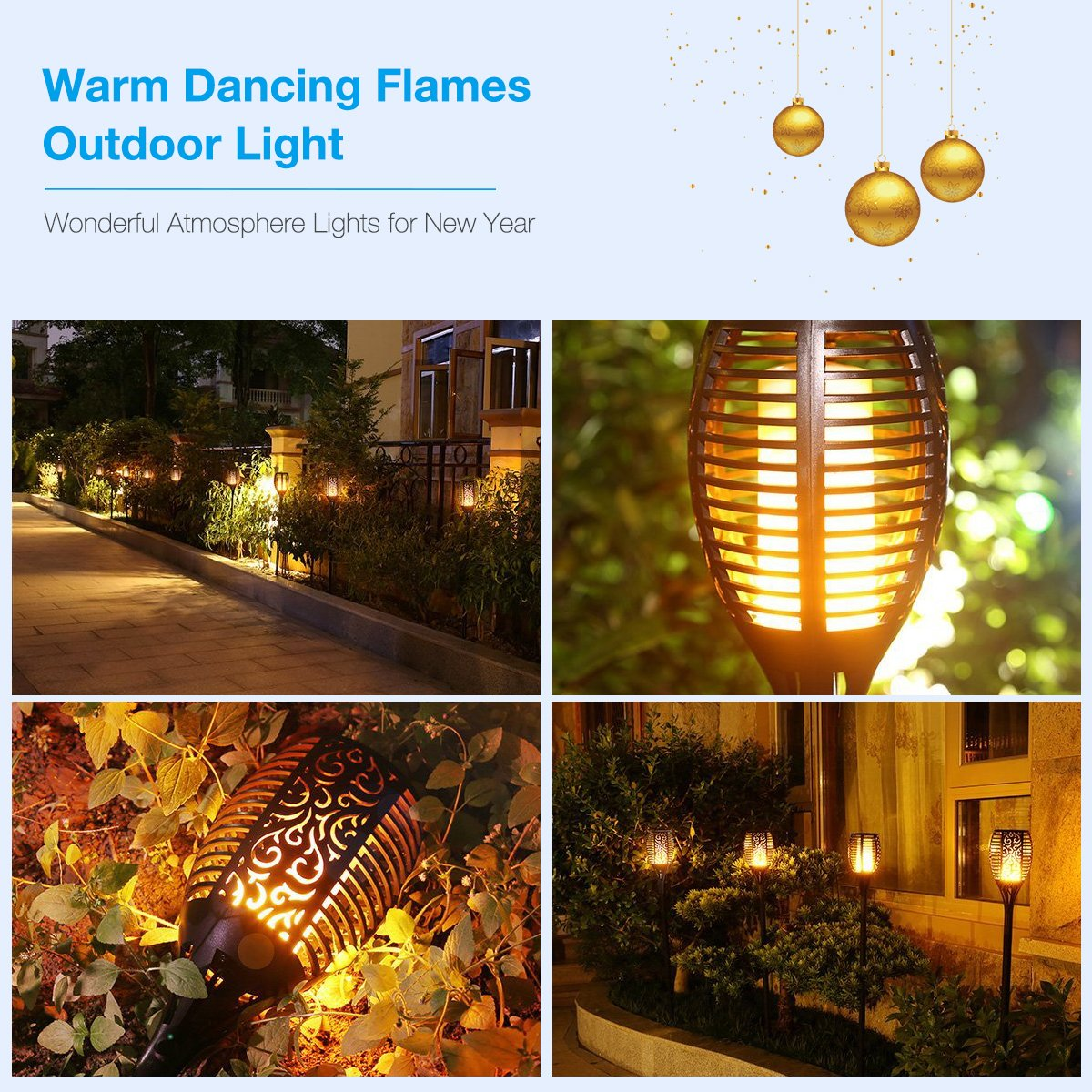 Solar Torch Lights, Poweradd IP67 Waterproof Flickering Dancing Flames Solar Powered Garden Decoration Lights Dust to Dawn Auto On/Off Landscape Warm Light for Patio, Pathway, Backyard