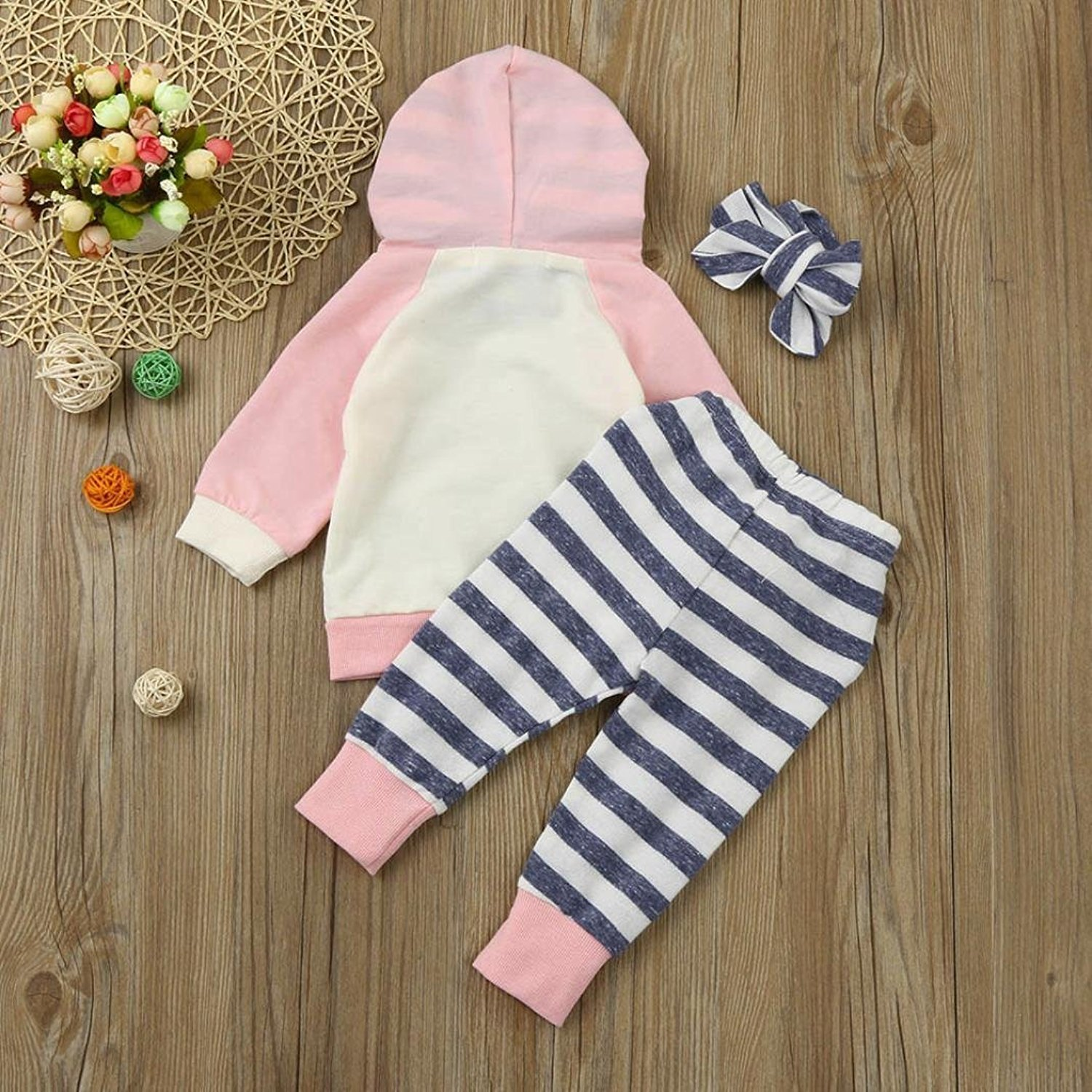 Baby Girls' Clothes Long Sleeve Hoodie Tops, Striped Pants+Headband Outfits Set (18-24 Months) by TUEMOS (Image #4)