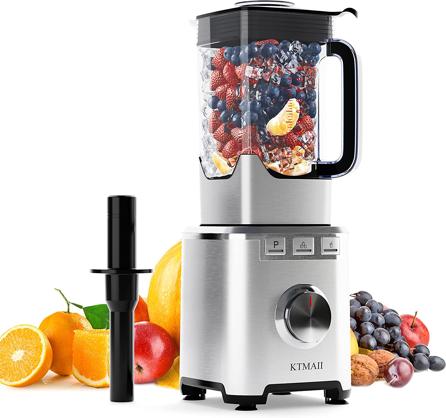KTMAII Countertop Smoothie Blender, 1800W Professional High Speed Blender with 68oz BPA-Free Pitcher, 6 Stainless Steel Blades, 3 Blending Presets Programs for Smoothies, Shakes, Ice Crushing and Frozen Fruits, Silver