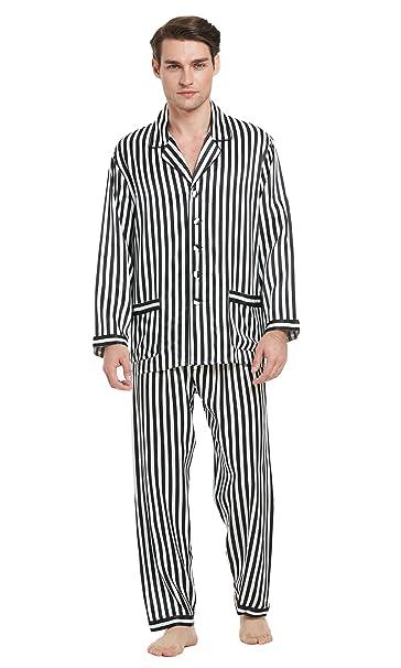 Lilysilk Conjunto de Pijamas Hombre Seda Raya Blanca y Negra 100% Seda Natural de 22