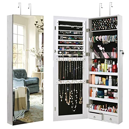 TomCare Jewelry Cabinet Jewelry Armoire Wall Door Mounted Jewelry Organizer  Lockable Frameless Mirror 2 Drawers Jewelry