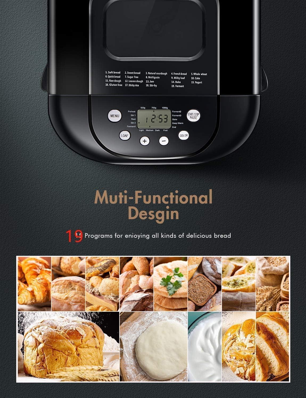 Yabano Machine /à Pain 21 Programmes Acier Inox Pour Yaourt 15H 650W Pain Sans Gluten 1kg