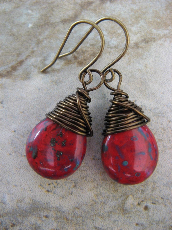 1 34 Drop Sterling Silver /& Deep Red Czech Glass Earrings Handmade Ready to Ship Niobium Ear Wire 1 34 Drop